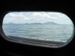 view from the window of the ship on Lake Balaton