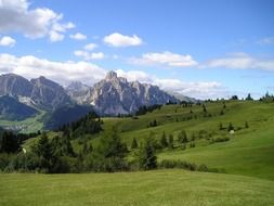green valley on a background of mountains, italy, South Tyrol