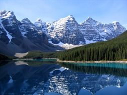 scenic mountains and forest at lake, canada, alberta, banff national park
