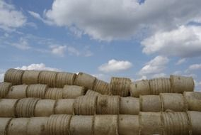 stacked straw bales in countryside