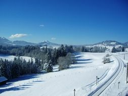 mountain panorama in wintertime