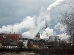 smoking chimney of industrial plant