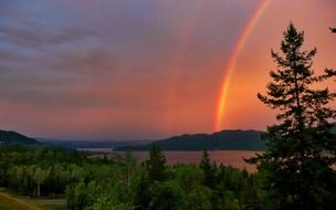 red thunderstorm rainbow canim lake