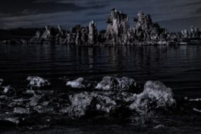 scenic mono lake at night, usa, California