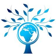 blue silhouette of the tree within which the globe