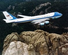 air force one above rocks, jet of president of the united states