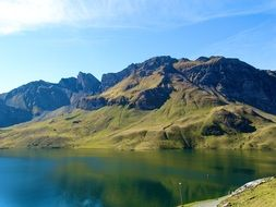 mountain lake melchsee in switzerland