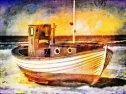 fishing boat as digital art