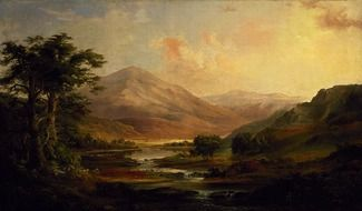 Beautiful robert duncanson's painting with the mountains