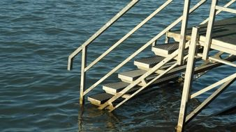 very beautiful lake stairs