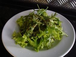 Green salad on a white plate