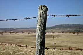 barbed wire fence around the pasture