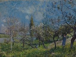 oil on canvas of a garden by alfred sisley