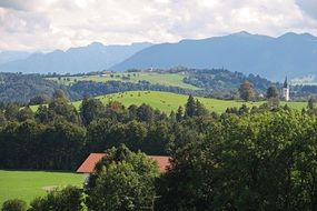 landscape of a bavarian town in mountains
