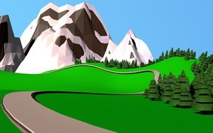 curved road in scenic mountain landscape, drawing