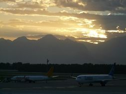 Antalya airport at sunset