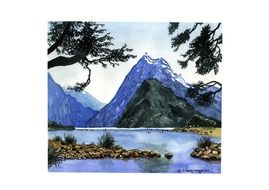painted landscape with mountain and river views