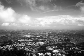 black and white panorama of the city