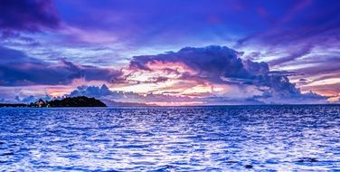 bright bora sunset clouds sky ocean