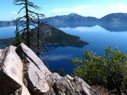 panorama of Crater lake in Oregon