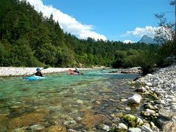 kayaking on a river in Slovenia