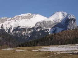 panorama of snowy mountain slopes in Slovakia
