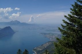 panoramic view of lake lucerne in switzerland