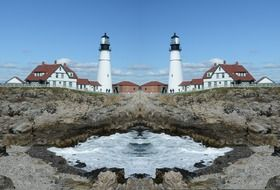 mirror image of a white lighthouse