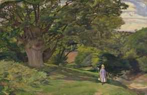 child girl walking in countryside at summer, painting by william hayes, oil on canvas