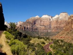 mountain road in the zion national park