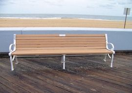 bench on a wooden floor on the promenade