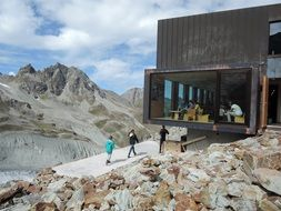 Moiry mountain hut is situated in the valley in Switzerland