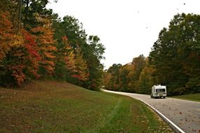 scenic autumn road in mississippi countryside