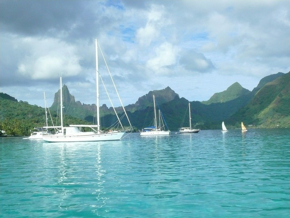 boats near the picturesque coast of the island of Moorea
