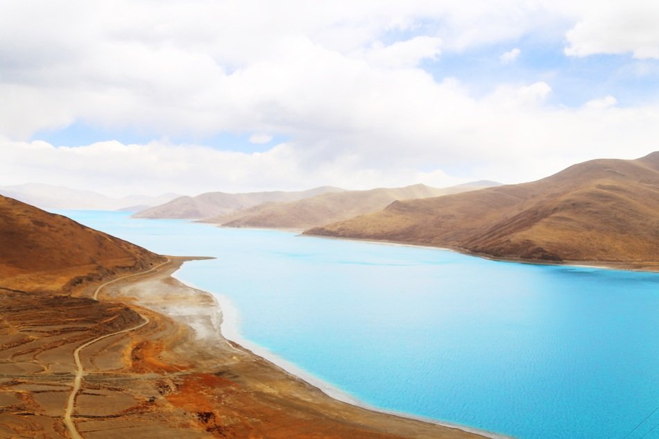 panorama of the lake Yamdrok in the mountains of Tibet
