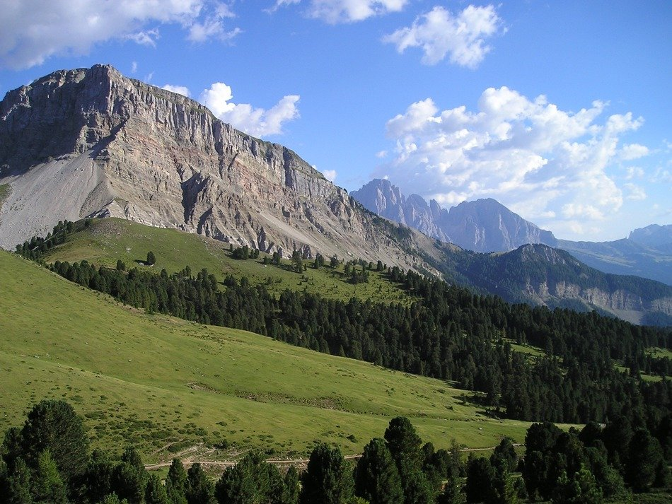 distant view of sassolungo mountain in south tyrol