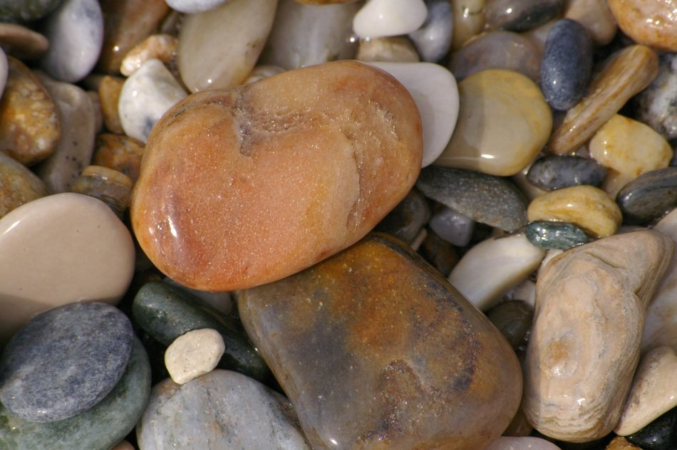 various pebbles on the beach