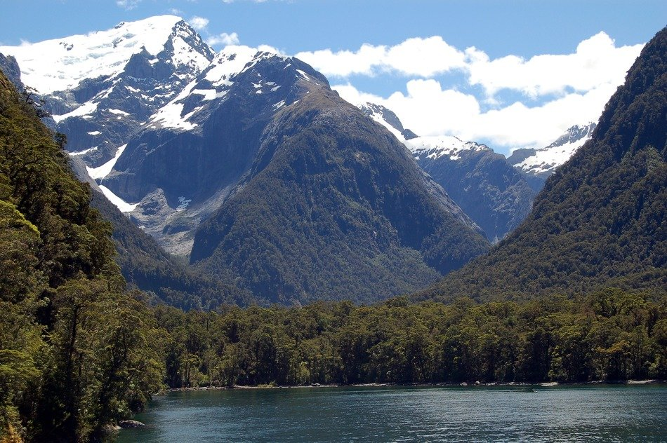 scenic mountain peaks on the background of the lake in New Zealand