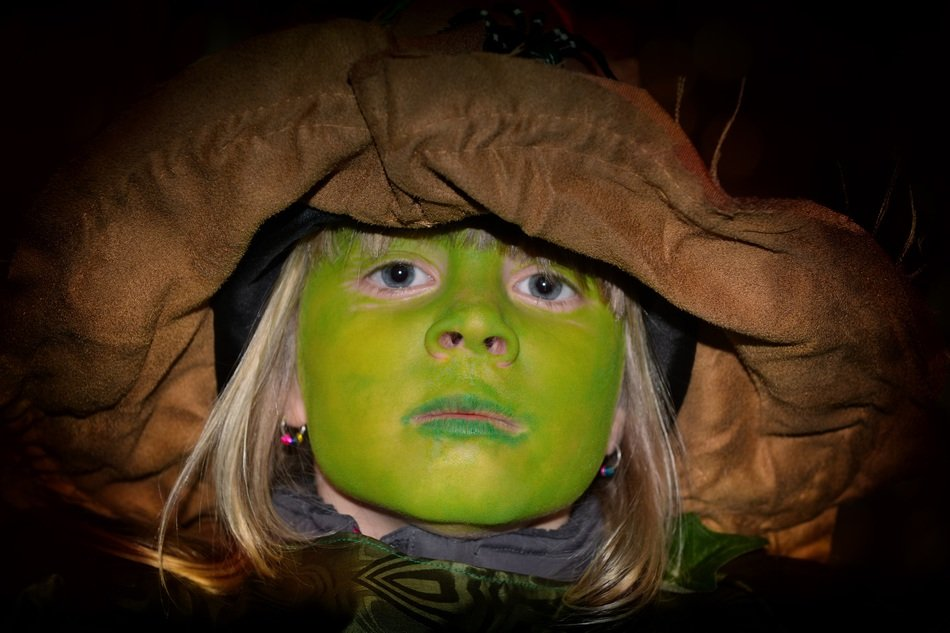 green face of girl for festival