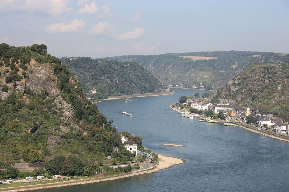 panoramic view of the picturesque banks of the rhine in germany