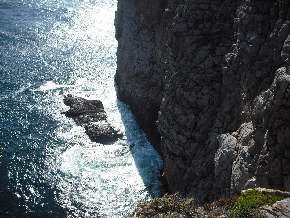 view from above on a cliff coast of Portugal