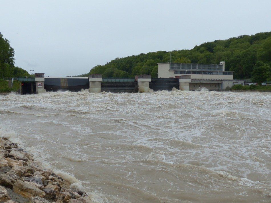 locked dam on the Danube