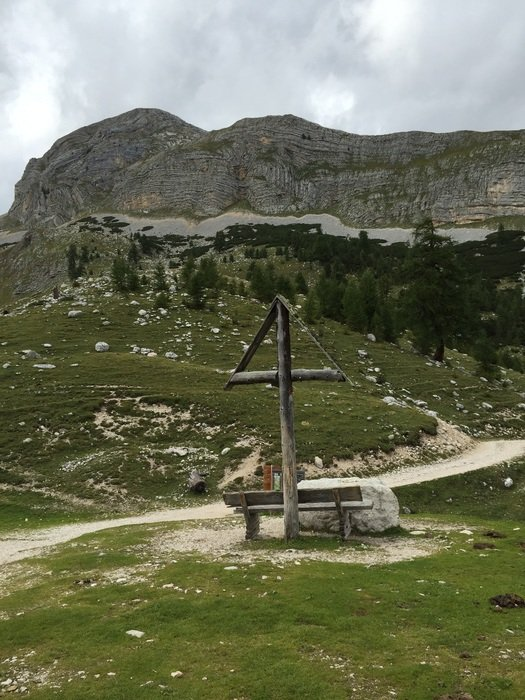 cross on a background of mountains in South Tyrol