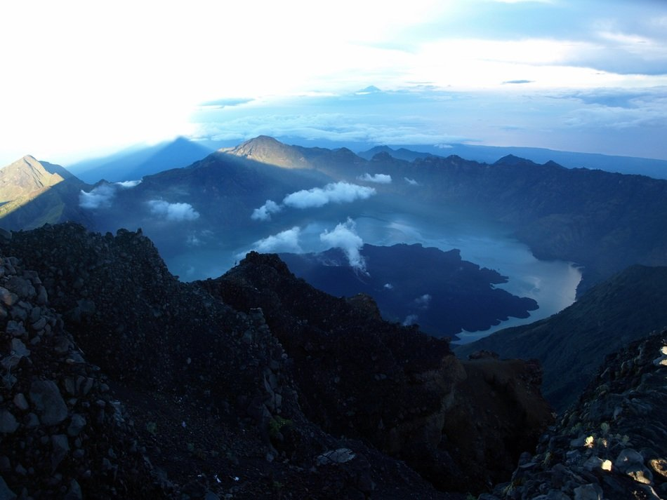 aerial view of dark mountains at evening, indonesia, lombok