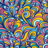 Colorful abstract doodle seamless pattern waves and clouds N5
