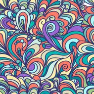 Colorful abstract doodle seamless pattern waves and clouds N6