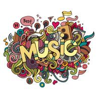 Music hand lettering and doodles elements background N2