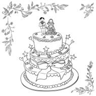 wedding cake in black and white