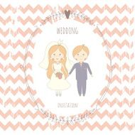Wedding invitation with a very cute wedding couple