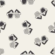 3d glasses doodle seamless pattern background N2